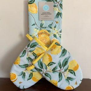 🆕 Lemon Kitchen Tea Towel Oven Mitt Set NWT